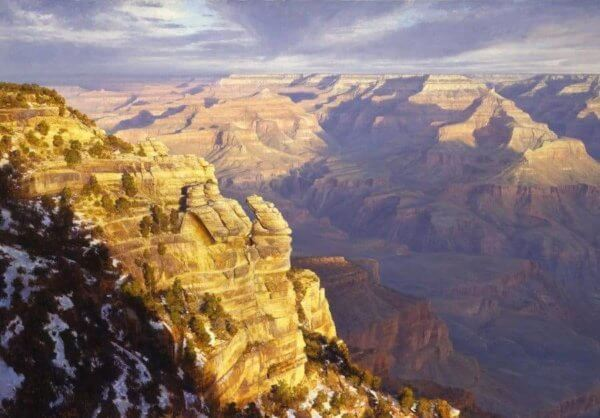 Golden Precipice 60x90 (1998) Grand Canyon, oil painting by Curt Walters