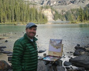 Curt Walters on site painting lake ohara