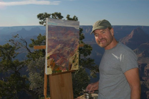 Curt Walters on site painting grand canyon