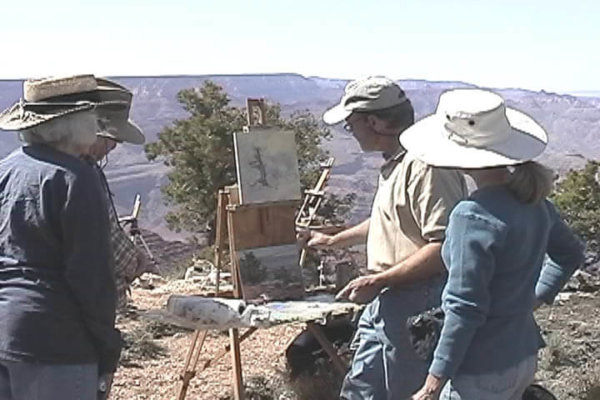 Curt Walters on site giving painting lessons at the Grand Canyon