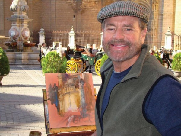 Curt Walters on site painting Seville Cathedral,Spain