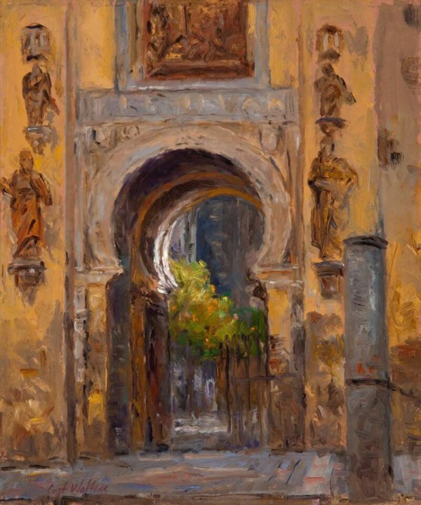 Door to Forgivness, Saville Cathedral painting by Curt Walters
