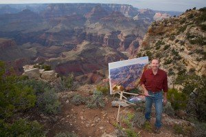 Curt Walters painting on site at Grand Canyon