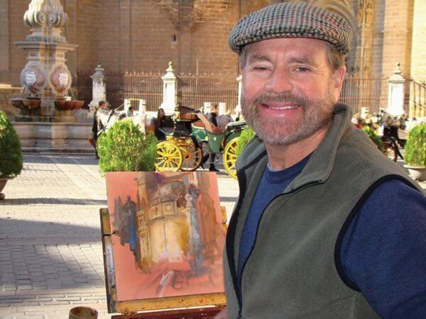 Curt Walters on site painting Seville Cathedral, Spain