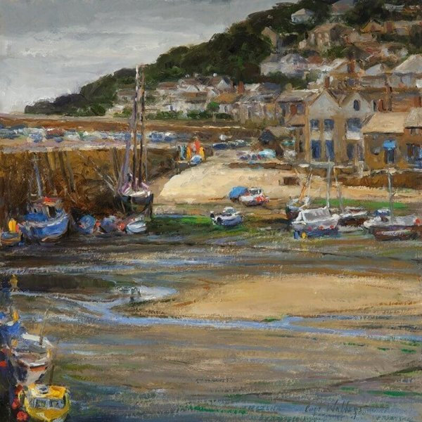 Mousehole Harbour, England by Master Grand Canyon Artist Curt Walters
