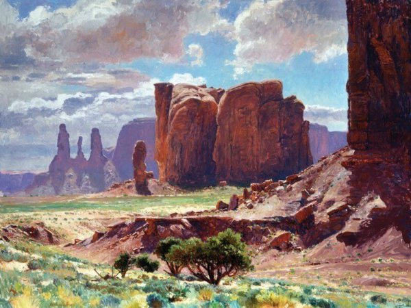 Enduring Espial oil 36x48 (1995)by Master Grand Canyon Artist Curt Walters housed in a private collection