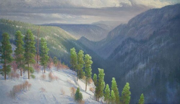 Guardians of the Switchbacks oil 40x70 (1989) by Master Grand Canyon Artist Curt Walters. owned in a private collection