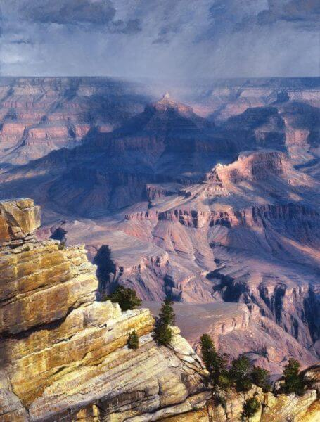 In Media Res oil 48x36 (2001) by Master Grand Canyon Artist Curt Walters. Now housed in a private collection