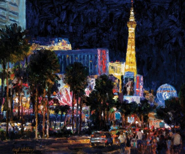 las vegas strip nocturne 10x12 by Master Grand Canyon Artist Curt Walters. Owned in private collection