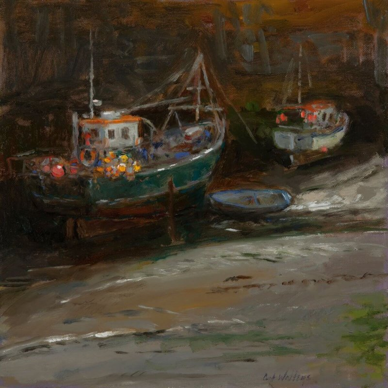 HARBOUR WALL SHADOW PORTHLEVEN by Master Grand Canyon Artist Curt Walters