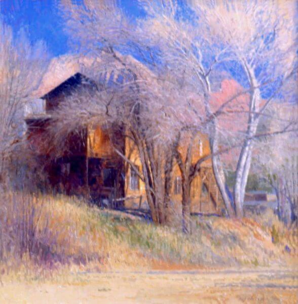 Art Barn in Winter, Sedona painting by Curt Walters