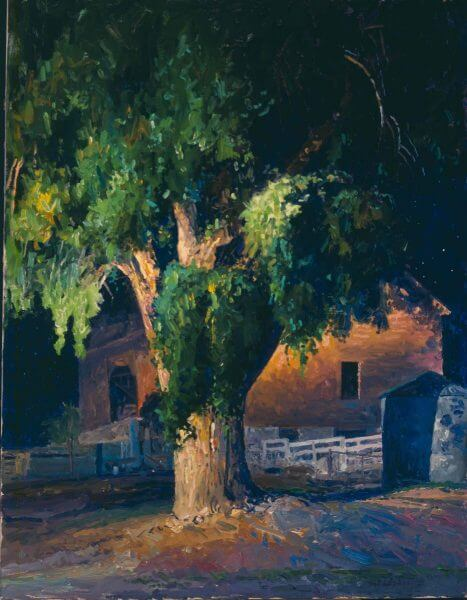 Big Barn Nocturn 40x30 (1994) New Mexico painting by Curt Walters
