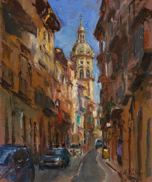 Calle de Mayor, Puente la Reina, Spain painting by Curt Walters
