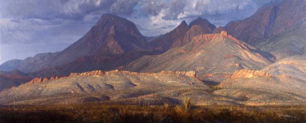 Chisos Mts Big Bend 32x80 (1987) painting by Curt Walters