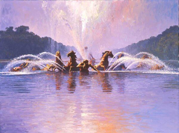 Fountain of Apollo Versailles painting by Curt Walters