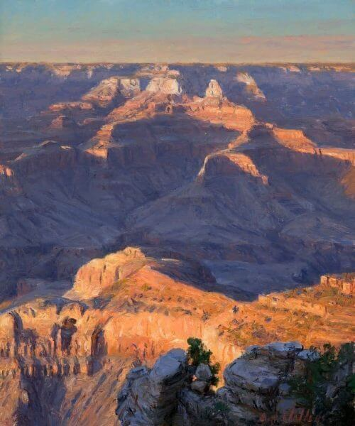 Last Light on O'neil Grand Canyon painting by Curt Walters