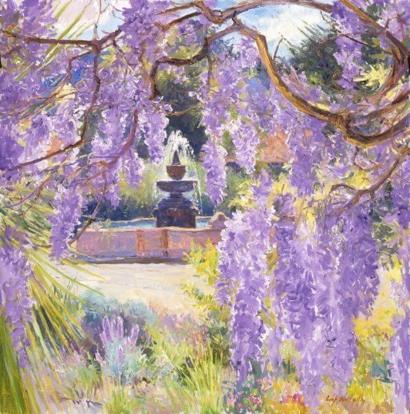 Mission Wisteria painting by Curt Walters