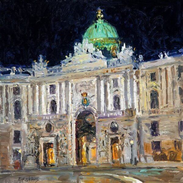 Evening at the Palace14x14 (2011) Vienna, Austria oil painting by Curt Walters