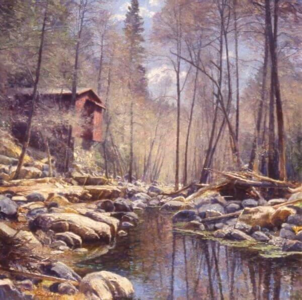 Fire House in March Oak Creek Canyon40x40 (1994)oil painting by Curt Walters