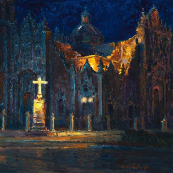 NOCTURNE SAN FELIPES CHAPEL 12X12 painting by Curt Walters