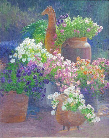 Toms Flowers painting by Curt Walters