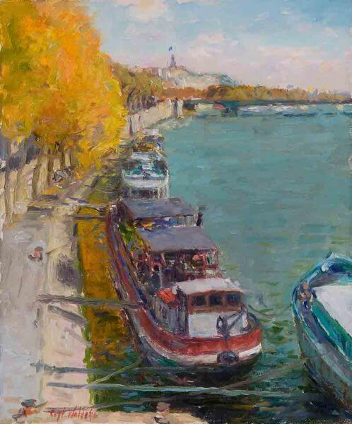 Paris River boats oil 12x10 (2008) painting by Curt Walters
