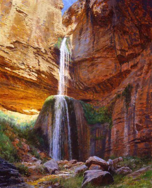Ribbon Falls 30x24 (1996) painting By Curt Walters