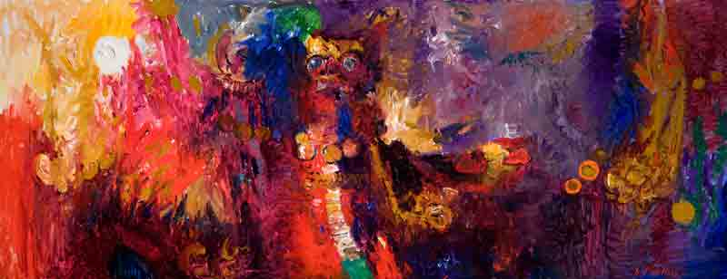 Spirits of Ubud 20x90 (1994) oil painting by Curt Walters