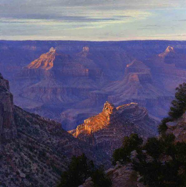 Sunset At Bright Angel Trail 28x28 oil painting by Curt Walters