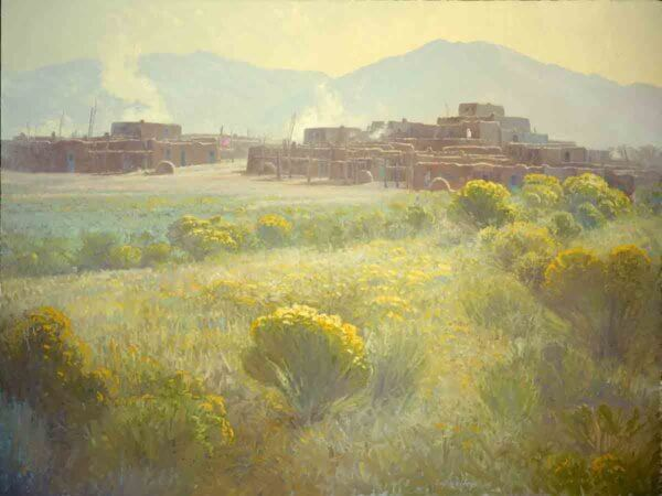 Taos Pueblo 30x40 (1987) oil painting by Curt Walters