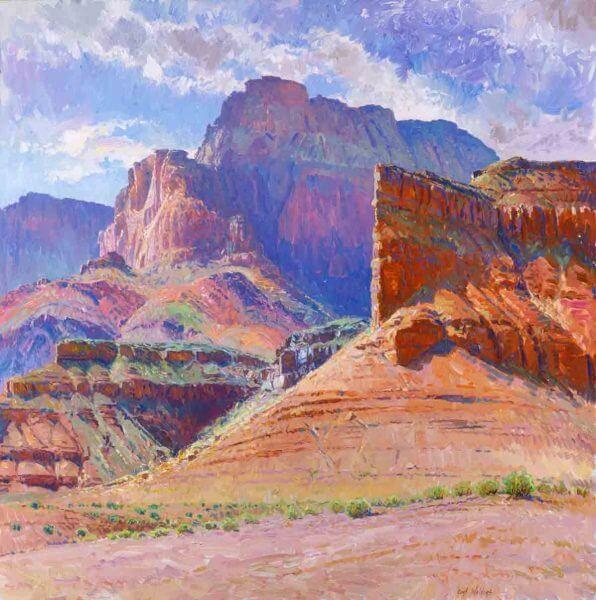 Vermillion Cliffs 48x48 (1991 Collection of San Juan College, Farmington, NM) oil painting by Curt Walters