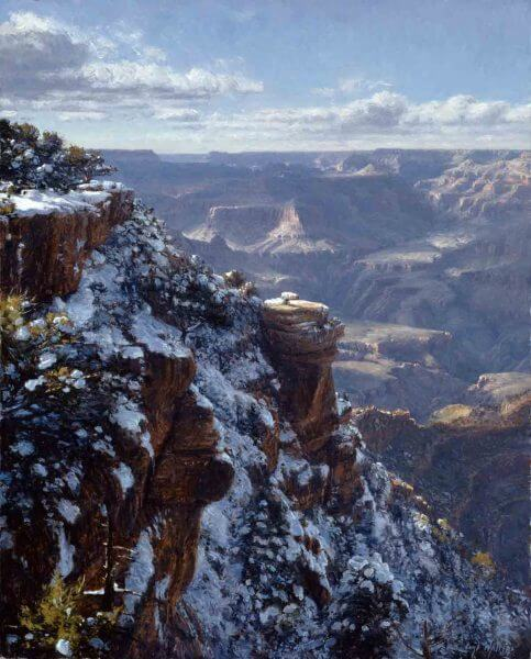 Winter at Yaki Point 30x24 (2000) oil painting by Curt Walters