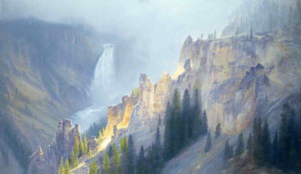 Yellowstone Awakening 40x70 (1988) painting by Curt Walters