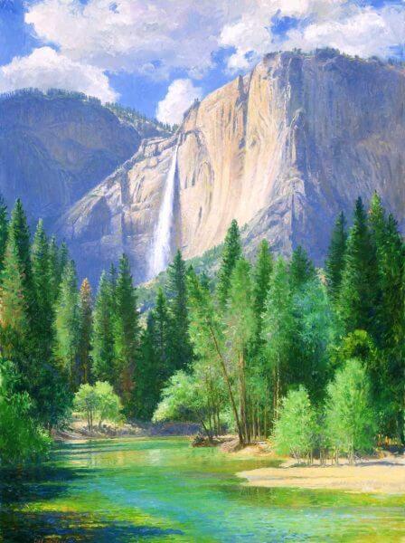 Yosemite Falls 48x36 (1995) painting by Curt Walters