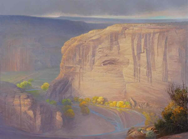 Antelope House Ruins Overlook 36x48 (1987) by Curt Walters