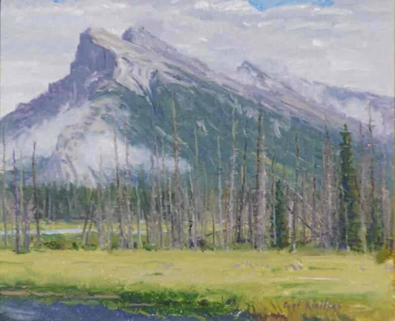 Mt Rundle from Vermillion Lakes 10x12 by Curt Walters