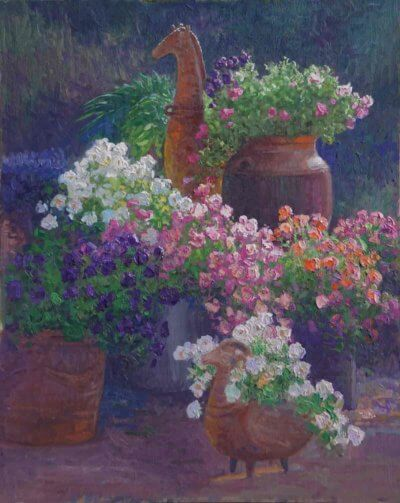 Tom's Flowers 30x24 1987 Painting by Curt Walters