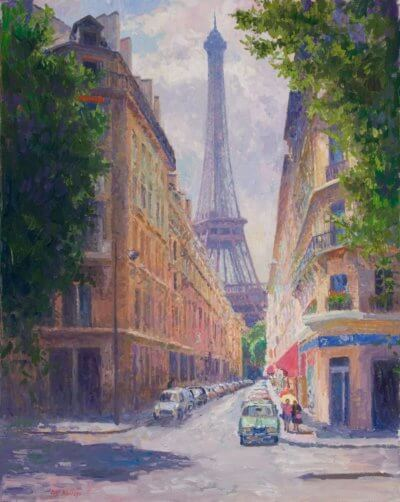 Rue de Monttessuey, Paris. oil 30x24 Painting by Curt Walters
