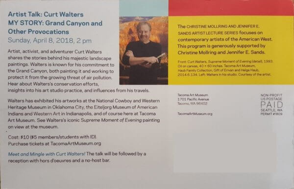 Art Talk: Curt Walters MY STORY: Grand Canyon and other provocations. Mailed invite pamphlet
